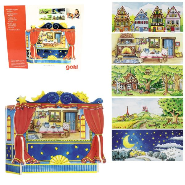 Goki Wooden FingerPuppet Theatre with 5 backdrops included - no puppets included